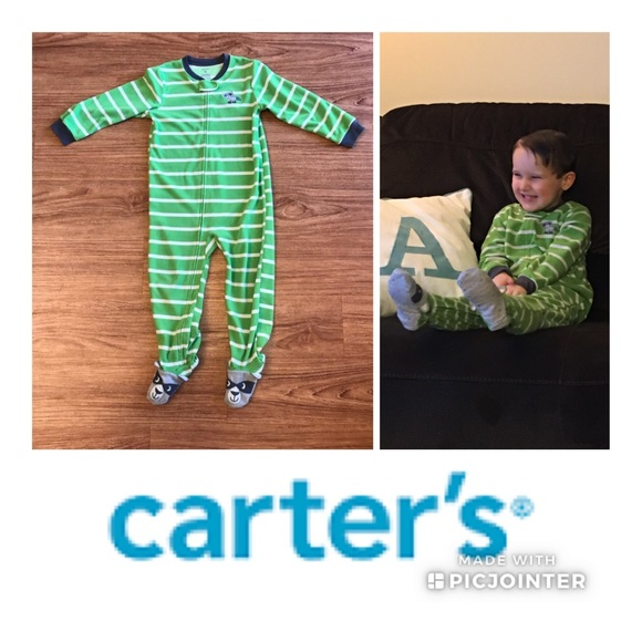 Carter/'s Boys Green White Striped Raccoon Footed Pajamas PJs Size 4T